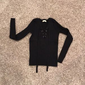 Hollister Black Sweater With Tie Up Lace